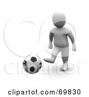 Royalty Free RF Clipart Illustration Of A 3d Blanco Man Character Playing Soccer by Jiri Moucka