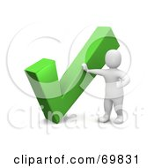 Royalty Free RF Clipart Illustration Of A 3d Blanco Man Character By A Large Check Mark