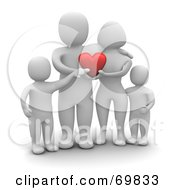 Royalty Free RF Clipart Illustration Of A 3d Blanco Man Character Family Holding A Heart
