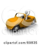 Royalty Free RF Clipart Illustration Of A 3d Blanco Man Character Waving And Driving A Yellow Convertible