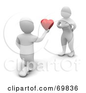 Royalty Free RF Clipart Illustration Of A 3d Blanco Man Character Proposing With A Heart by Jiri Moucka