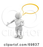 Royalty Free RF Clipart Illustration Of A 3d Blanco Woman Character With A Word Balloon