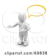 Royalty Free RF Clipart Illustration Of A 3d Blanco Man Character With A Word Balloon