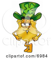 Badge Mascot Cartoon Character Wearing A Saint Patricks Day Hat With A Clover On It