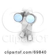 Royalty Free RF Clipart Illustration Of A 3d Blanco Man Character Viewing Outwards With Binoculars