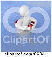 Royalty Free RF Clipart Illustration Of A 3d Blanco Man Character Floating On A Life Buoy by Jiri Moucka
