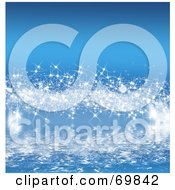 Royalty Free RF Clipart Illustration Of A Blue Background Of Sparkling Stars Over Water by MacX