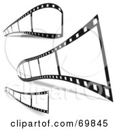 Royalty Free RF Clipart Illustration Of A Digital Collage Of Three Film Strips With Black Frames And Shadows