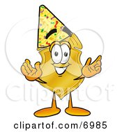 Clipart Picture Of A Badge Mascot Cartoon Character Wearing A Birthday Party Hat by Toons4Biz