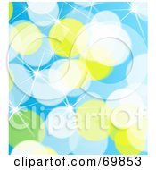 Royalty Free RF Clipart Illustration Of A Sparkly Blue White Yellow And Green Background by MacX