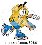 Clipart Picture Of A Badge Mascot Cartoon Character Playing Ice Hockey by Toons4Biz