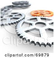 3d Orange And Chrome Cog Wheel Background