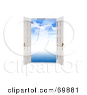 Royalty Free RF Clipart Illustration Of A Blue Sky Through Open Doors by MacX