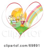 Royalty Free RF Clipart Illustration Of A Heart With A Rainbow And Kids by MacX