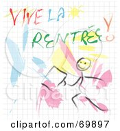 Royalty Free RF Clipart Illustration Of A Vive La Rentree Sketch by MacX