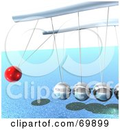 Royalty Free RF Clipart Illustration Of A Red Pendulum Ball Swinging by MacX