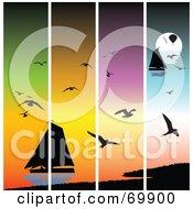 Royalty Free RF Clipart Illustration Of Sailboat At Sunset Panels by MacX