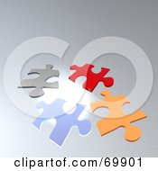 Royalty Free RF Clipart Illustration Of Scattered Divers Puzzle Pieces