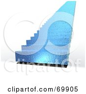 Royalty Free RF Clipart Illustration Of Shiny Blue 3d Stairs On White by MacX