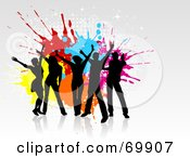 Royalty Free RF Clipart Illustration Of A Group Of Black Silhouetted Party Dancers Over Grunge Splatters On Gray