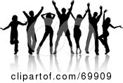 Royalty Free RF Clipart Illustration Of A Group Of Black Silhouetted Party Dancers