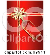 Red Christmas Gift Background With A Blank Tag And Gold Bow