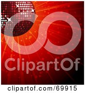 Royalty Free RF Clipart Illustration Of A Sparkly Red 3d Disco Ball Over A Shining Red Background by elaineitalia