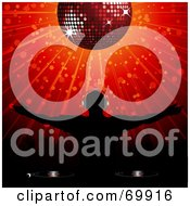 Royalty Free RF Clipart Illustration Of A Silhouetted Dj Holding His Arms Out Under A Shining Red Disco Ball