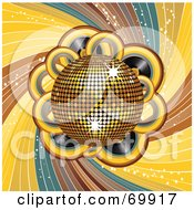 Royalty Free RF Clipart Illustration Of A Shiny Golden 3d Disco Ball Over Records And Swirls