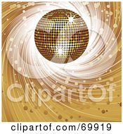 Royalty Free RF Clipart Illustration Of A Golden 3d Disco Ball On A Spiraling Brown Background