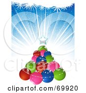Royalty Free RF Clipart Illustration Of A Christmas Tree Made Of Colorful Baubles Over A Blue Burst Background by elaineitalia