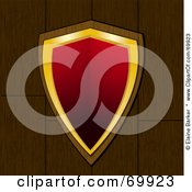 Royalty Free RF Clipart Illustration Of A Red And Gold Shield Over Wood by elaineitalia
