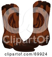 Pair Of Brown Leather Cowboy Boots With Wing Designs