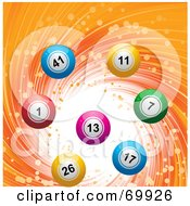Royalty Free RF Clipart Illustration Of A Colorful 3d Lottery Balls On A Swirling Orange Background