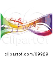 Royalty Free RF Clipart Illustration Of A Colorful Music Note Flow Background On White