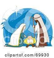 Royalty Free RF Clipart Illustration Of A Nativity Scene With A Blue Shining Background