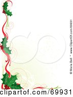 White Background Bordered In Christmas Holly And Ribbons