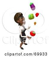 3d Black Businesswoman Character Juggling Veggies - Pose 2