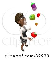 Royalty Free RF Clipart Illustration Of A 3d Black Businesswoman Character Juggling Veggies Pose 2 by Julos
