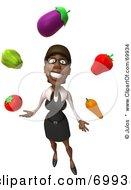 3d Black Businesswoman Character Juggling Veggies - Pose 1