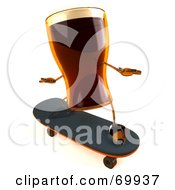 Royalty Free RF Clipart Illustration Of A 3d Root Beer Character Skateboarding Version 3