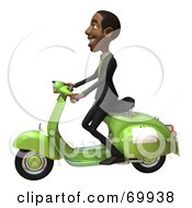 Royalty Free RF Clipart Illustration Of A 3d Black Businessman Character Riding A Scooter by Julos