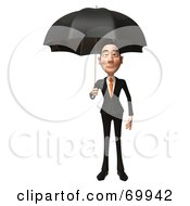 Royalty Free RF Clipart Illustration Of A 3d Asian Businessman Character Holding An Umbrella by Julos