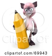 Royalty Free RF Clipart Illustration Of A 3d Pink Kitty Character Holding A Pencil Version 1