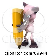 Royalty Free RF Clipart Illustration Of A 3d Pink Kitty Character Holding A Pencil Version 2