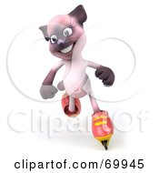 Royalty Free RF Clipart Illustration Of A 3d Pink Kitty Character Roller Blading Version 2