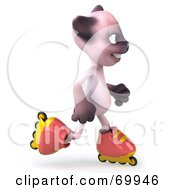 Royalty Free RF Clipart Illustration Of A 3d Pink Kitty Character Roller Blading Version 4