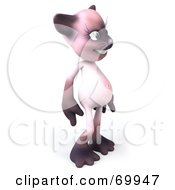 Royalty Free RF Clipart Illustration Of A 3d Pink Kitty Character Standing And Facing Right