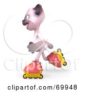 Royalty Free RF Clipart Illustration Of A 3d Pink Kitty Character Roller Blading Version 3