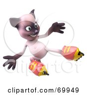 Royalty Free RF Clipart Illustration Of A 3d Pink Kitty Character Roller Blading Version 5